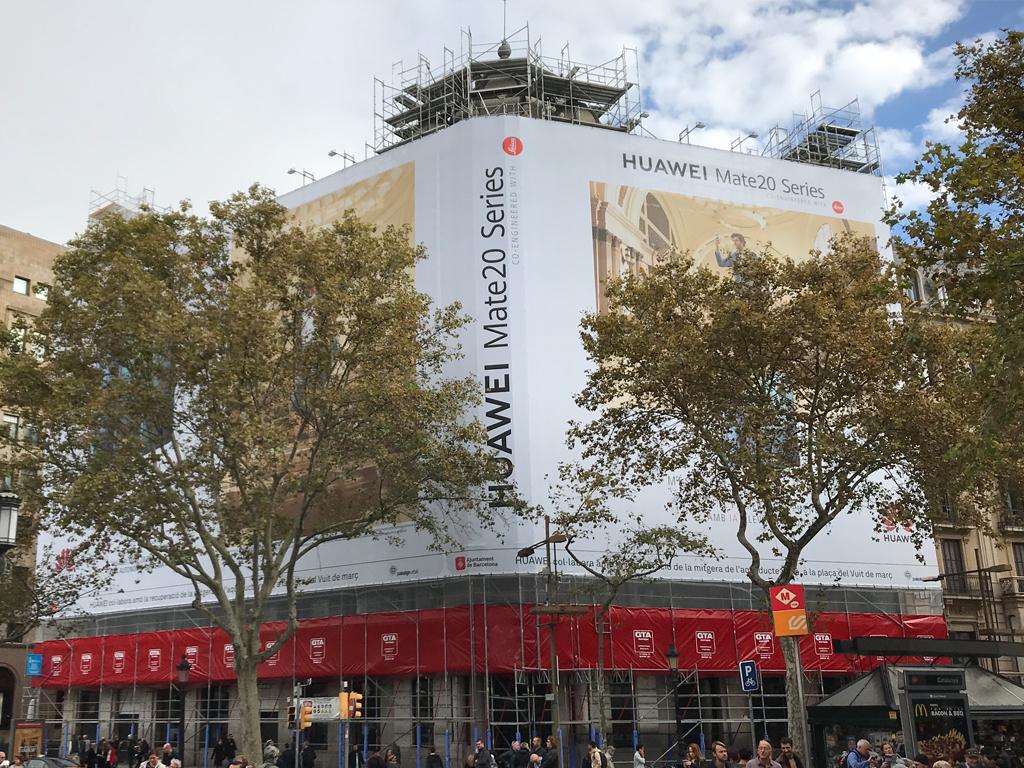 Lona subvención en Plaça Catalunya actual rehabilitacion edificio sagnier GTA Europa